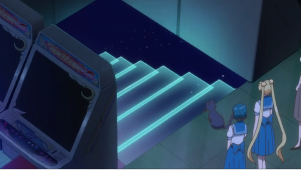 Luna shows the girls their secret headquarters, under the Sailor V arcade machine?!