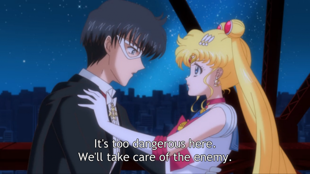 Sailor Moon tries to keep Tuxedo Mask safe!