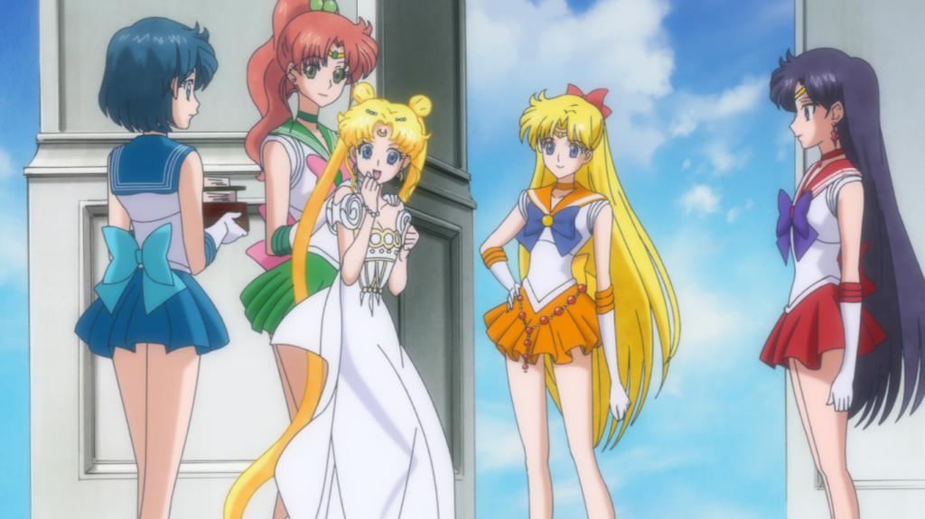 Inner Senshi finds Princess Serenity trying to sneak back into the palace from visiting the Earth.